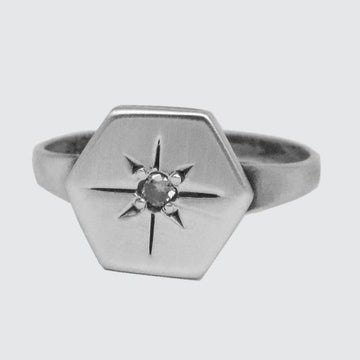 Hexagonal Disc Ring with Star Set Stone