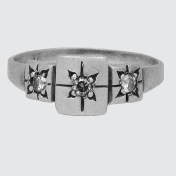 Triple Square Ring with Star Set Stones