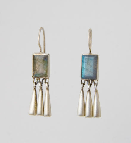 Faceted Labradorite Rectangles with Tear Drops Earrings
