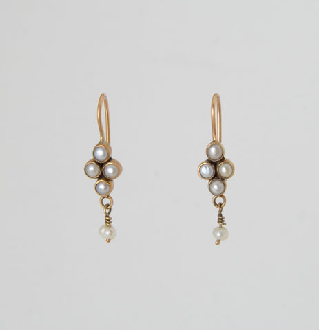 Delicate Pearl Cluster Drop Earrings