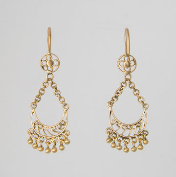 Handmade filigree half moon drop gold earrings
