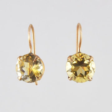 Simple Faceted Stone Gold Drop Earrings