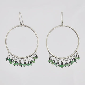 Large Circle Drop Earrings with Dangling Stones
