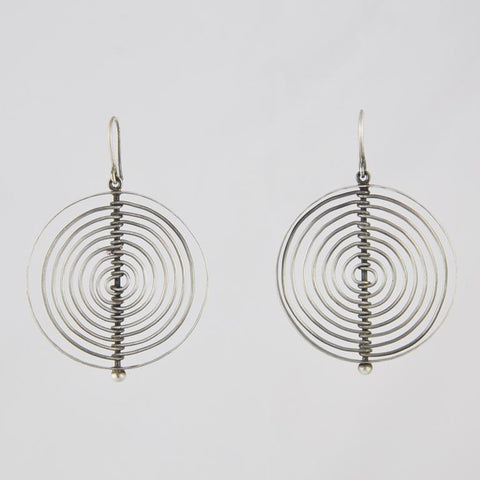 Large Round Wire Maze Drop Earrings