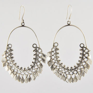 Exotic Hoop Drop Earrings with Diamond-Shaped Dangles