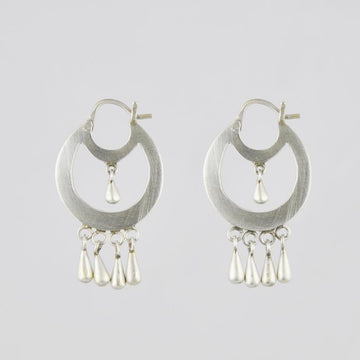 Hoop Earrings with Solid Tear Drop Dangles