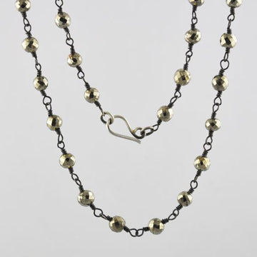 Oxidized Rosary Chain Necklace with Faceted Beads