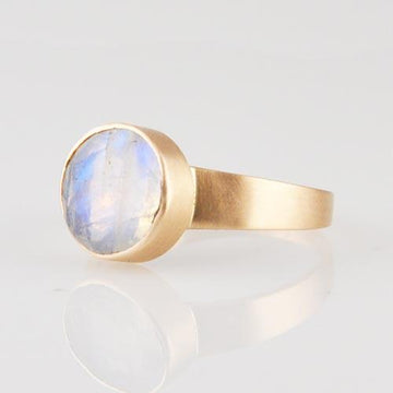 Faceted Stone Ring in Gold