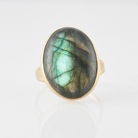 Large Oval Cabochon Stone Gold Ring