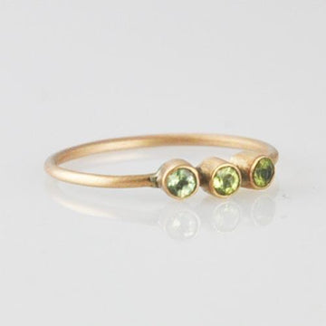 Three Stones Stackable Gold Ring