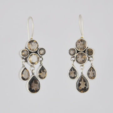 Faceted Stone Cluster and Teardrop Dangle Earrings