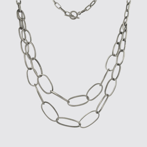 Double Strand Oval Link Chain Necklace