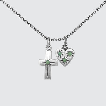 Small Heart and Cross Charm Necklace with Star Set Stones