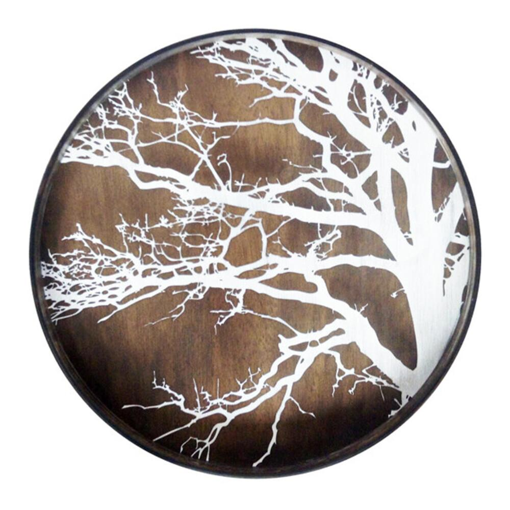 Large Round Tray with Whitewash Tree Decoration - Barnbury