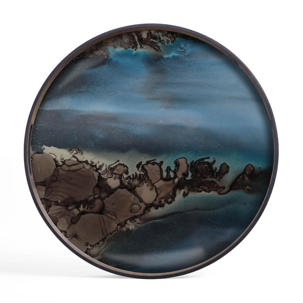 Round Tray with Organic Midnight Blue and Slate Decoration - Barnbury