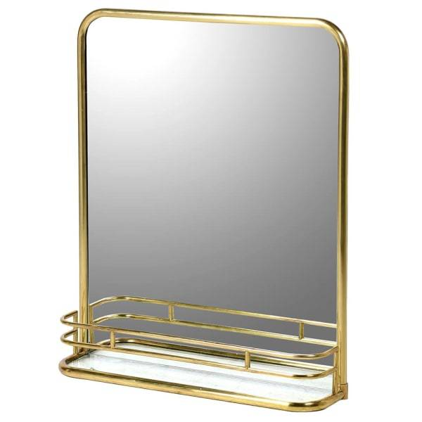 Badminton Brass Wall Mirror with Shelf - Barnbury