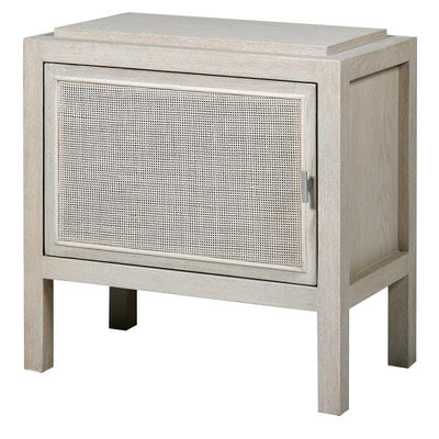 Corfu Antique White and Rattan Bedside Table (R) - Barnbury