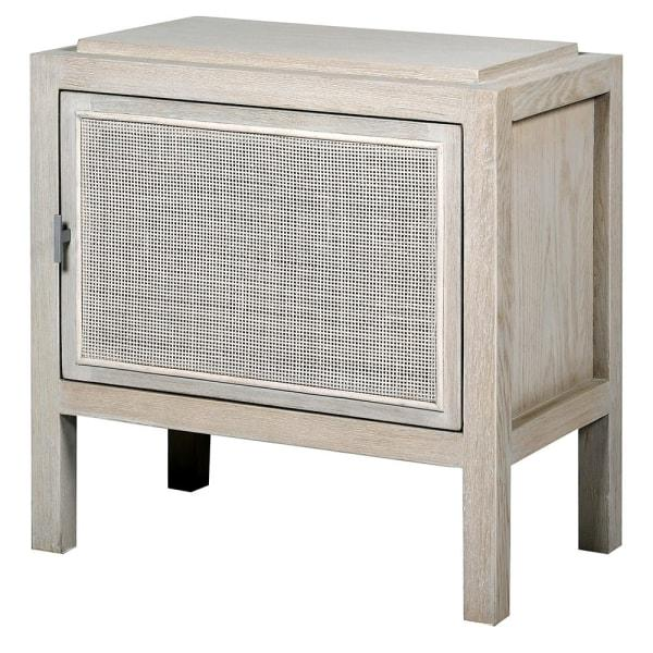 Corfu Antique White and Rattan Bedside Table (L) - Barnbury