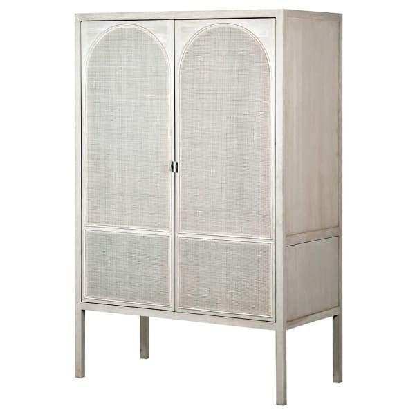 Corfu Antique White and Rattan Wardrobe - Barnbury
