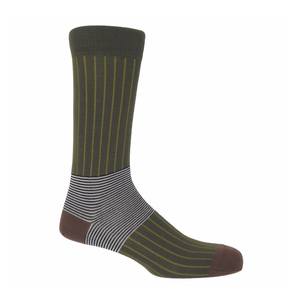 Sage Oxford Stripe Socks - Barnbury