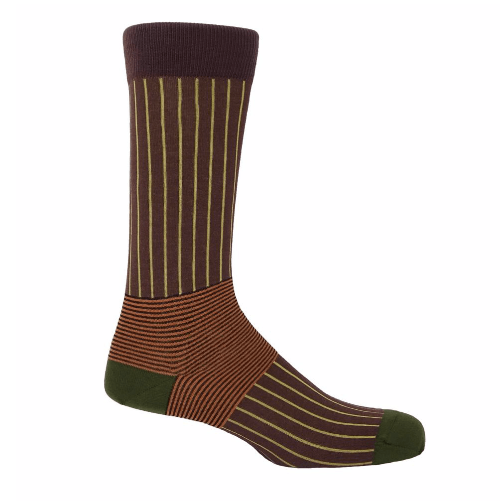 Brown Oxford Stripe Socks - Barnbury