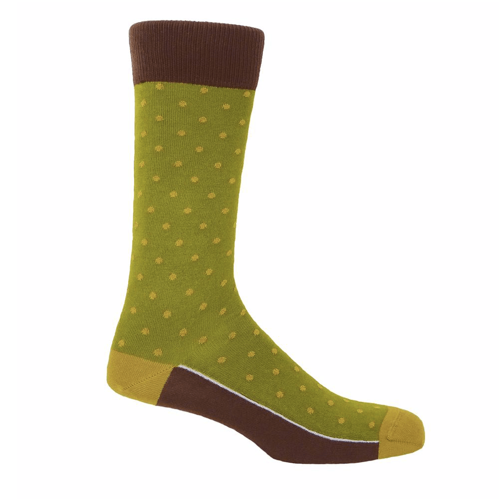 Olive Pin Polka Socks - Barnbury