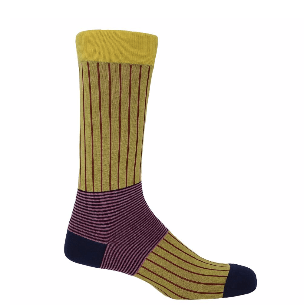 Yellow Oxford Stripe Socks - Barnbury