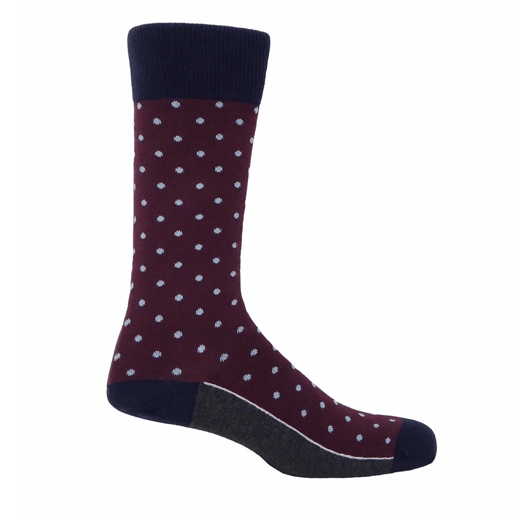 Burgundy Pin Polka Socks - Barnbury