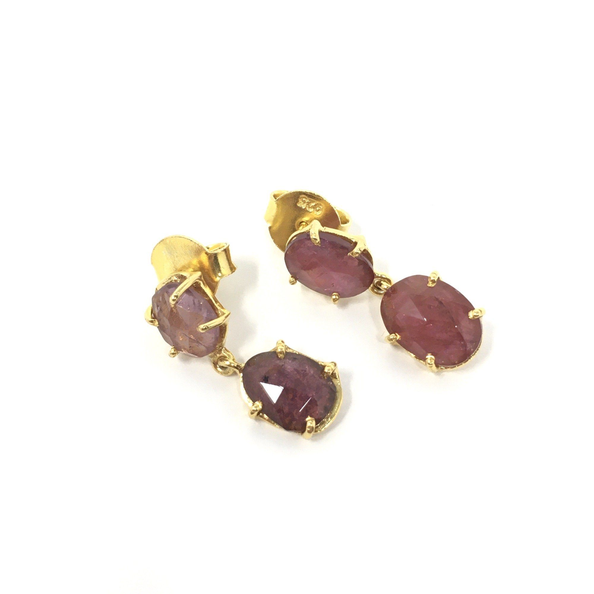 Pink Tourmaline Droplet Earrings - Barnbury