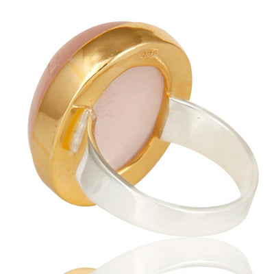 Natural Rose Quartz Silver Gilt and Silver Cocktail Ring - Barnbury