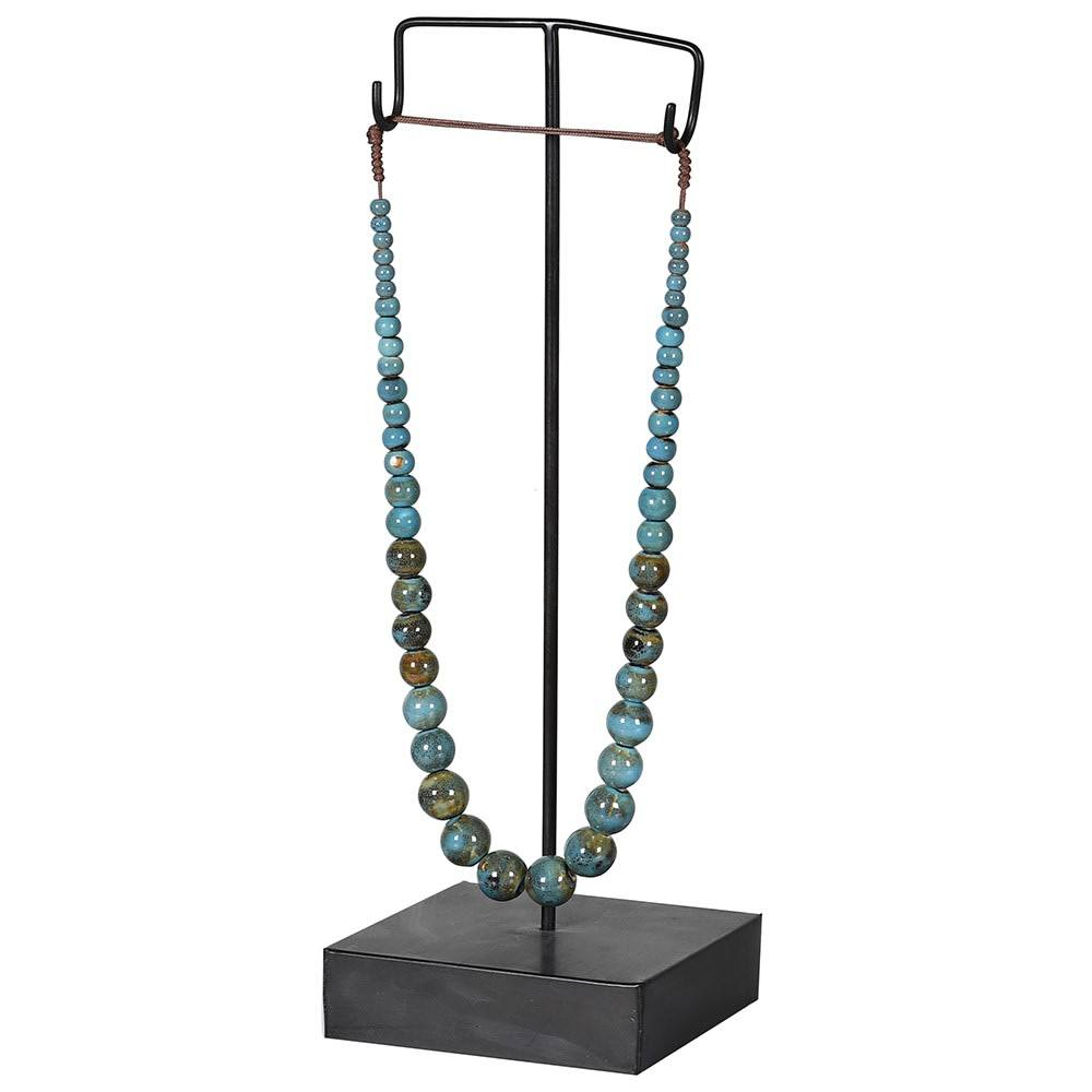 Decorative Aqua Necklace on Stand - Barnbury