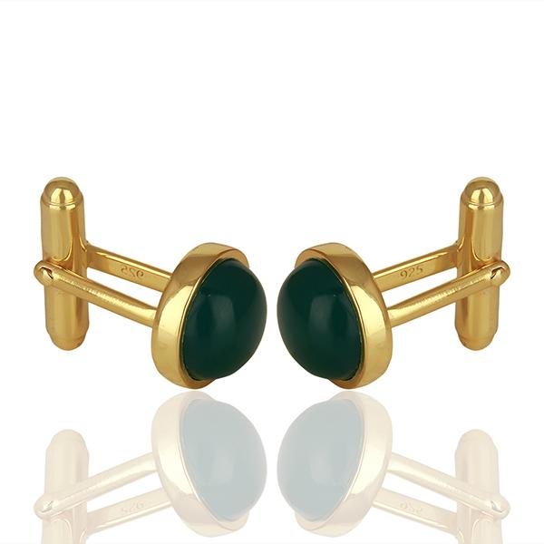 Green Onyx Gold Plated Sterling Silver Cufflinks - Barnbury