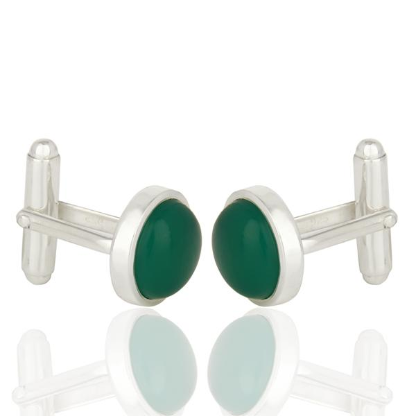 Green Onyx Sterling Silver Cufflinks - Barnbury