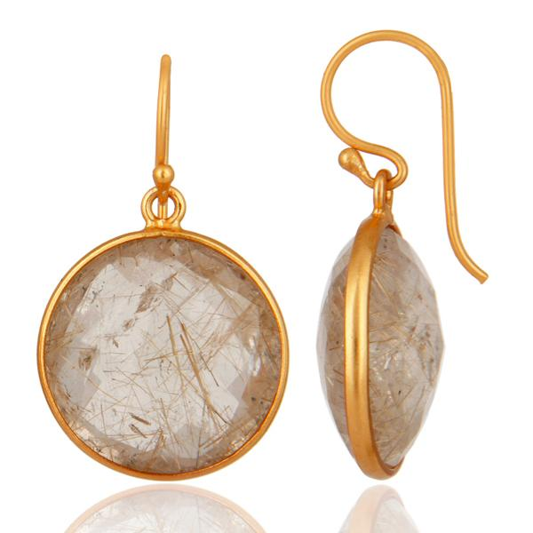 Gold plated sterling silver faceted golden rutile quartz earrings - Barnbury