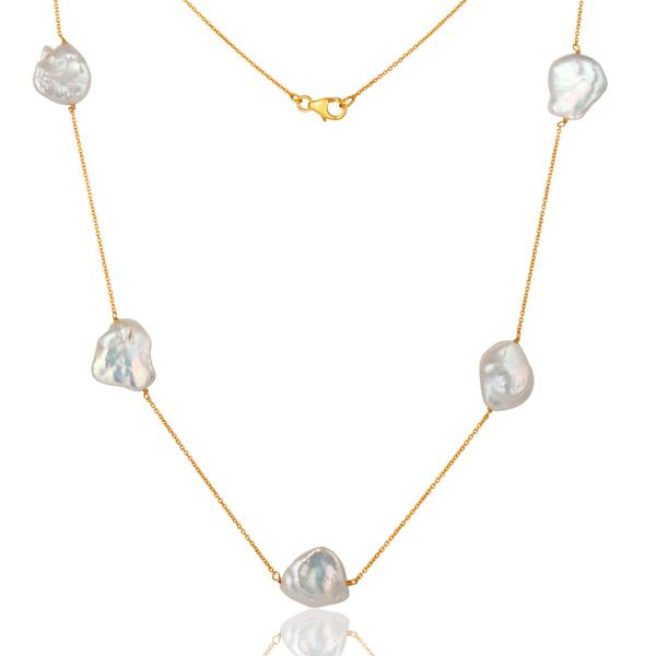 Gold Plated Sterling Silver natural white pearl beaded necklace - Barnbury