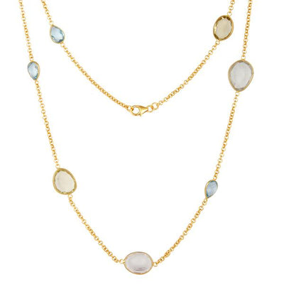 Gold Plated Sterling Silver Multi gemstone necklace - Barnbury