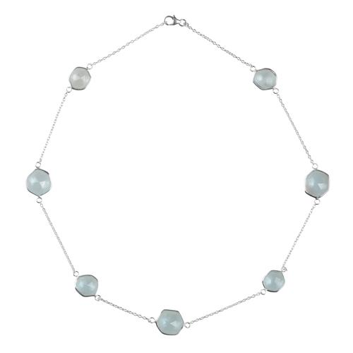 Sterling silver bezel cut blue topaz necklace - Barnbury
