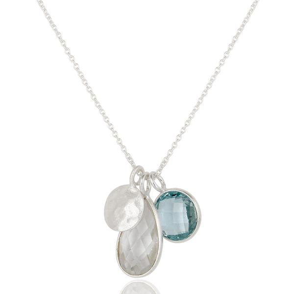 blue topaz and crystal quartz necklace - Barnbury