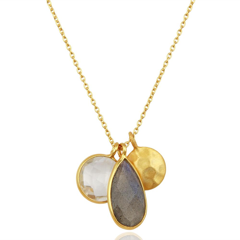 18'' Silver Gilt labradorite and crystal quartz necklace - Barnbury