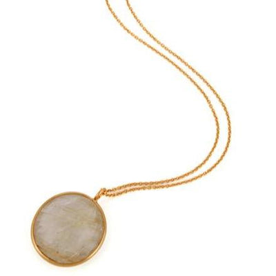 Gold Plated Sterling Silver faceted golden rutile pendant - Barnbury