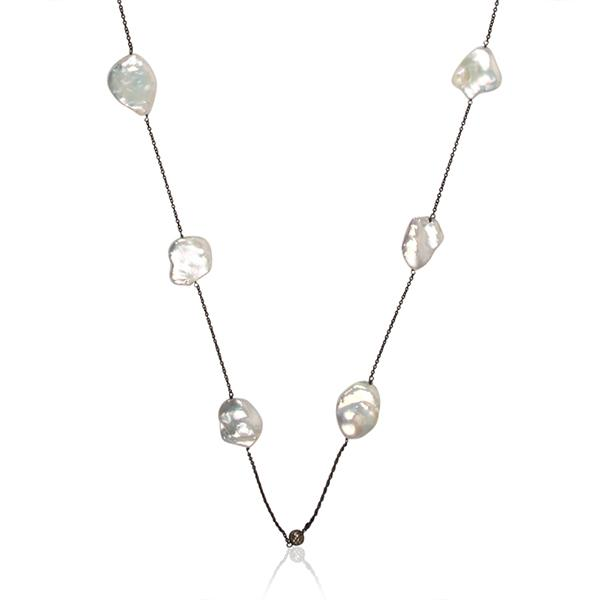 Oxidised sterling silver Pave diamond and pearl necklace - Barnbury