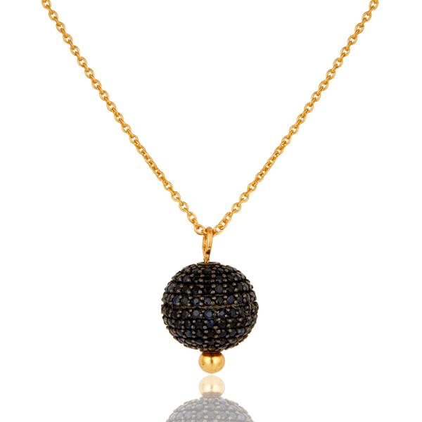 Gold Plated Sterling Silver Fine chain with blue sapphire encrusted sphere - Barnbury