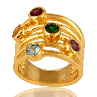 Gold Plated Sterling Silver Multi Gemstone Stacked Ring - Barnbury
