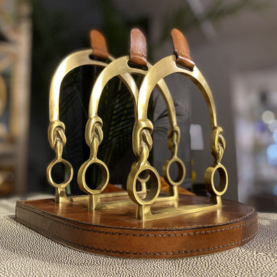 Leather & brass stirrup letter holder - Barnbury