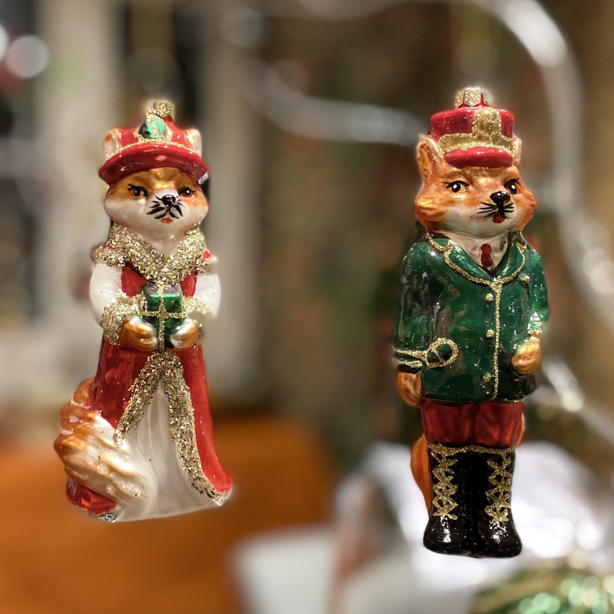 Lord and Lady Fox Hanging Christmas Decorations