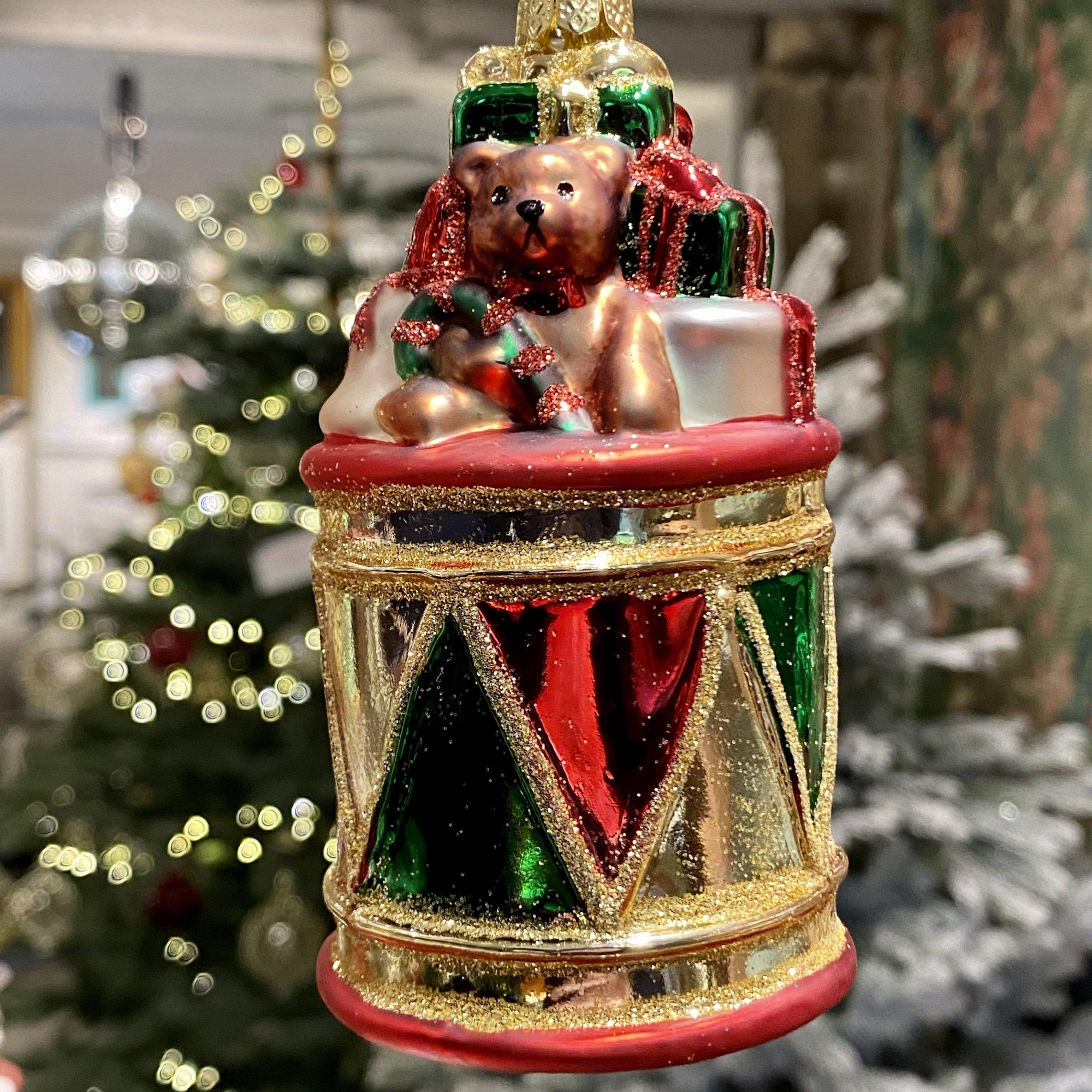 Glass drum and gifts Christmas bauble - Barnbury