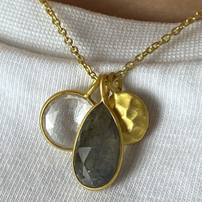 labradorite and crystal quartz necklace - Barnbury