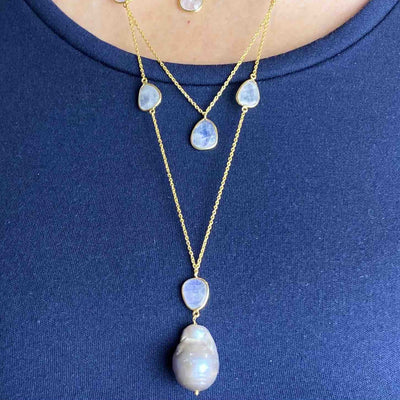 Gold Plated Sterling Silver layered necklace with grey fresh water pearl and moonstones - Barnbury