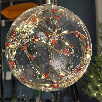 Red Berry Bauble With Lights - Barnbury