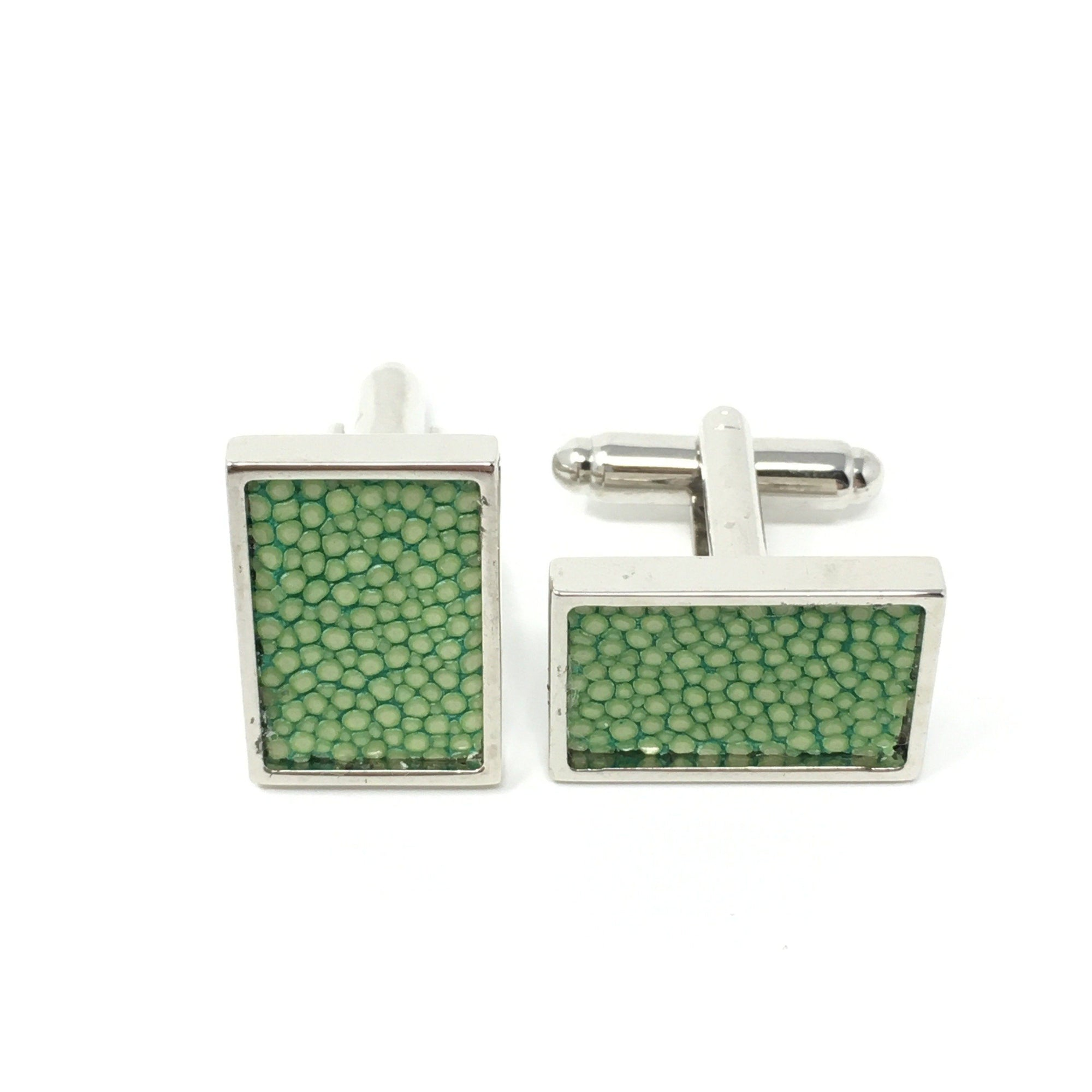 Acid Green Real Shagreen Cufflinks - Barnbury